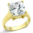 Ladies Princess Cut  5.29ct Solitaire Yellow Gold Plated Ring