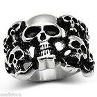 Mens Skulls Silver Color  Stainless Steel Ring