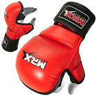 MMA GLOVES SPARRING TRAINING GRAPPLING BOXING CAGE GLOVES COWHIDE LEATHER RED