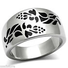 Heart Decorated Band Silver Stainless Steel Unisex Floral Ring