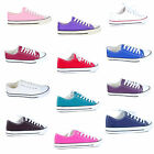 Women's Low Top Canvas Lace Up Rubber Toe Trainers Sneakers Pumps Shoes