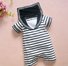 Boys White Stripe Sailor Crew Summer Romper 00/0/12M/18M