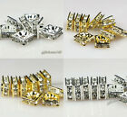 100pcs 6x6mm,8x8mm,10x10mm silver/golden square rhinestone crystal spacer beads