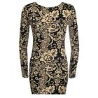 LADIES WOMENS FLORAL PRINT LONG SLEEVES STRETCH BODYCON DRESS