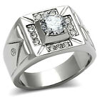 Mens 1.85ct Clear Round Stone Silver Stainless Steel Ring
