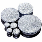Multiple Size Polished Glitter Silver Grey Acrylic Flesh Tunnels Black Ear Plugs