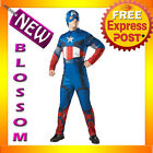 C685 Mens Captain America Avengers Muscle Chest + Hood Halloween Adult Costume