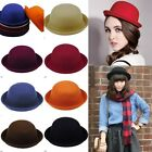 Classic Style Vintage Womens Wool Cute Trendy Bowler Cap Fashion Plain Derby Hat