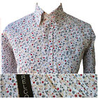 Relco Mens Floral Flower Print Shirt in White NEW Long Sleeve Retro Mod Vintage