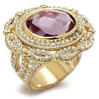 Ladies Light Amethyst Full Crystal Gold Plated Rosette Ring