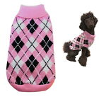 Dog Sweater Pink Plaid XS S M L - Coat Puppy Pet Clothes Jacket Jumper Chihuahua