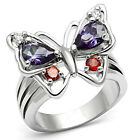 Butterfly Red & Purple Stones Silver Rhodium EP Ladies Ring Size 6