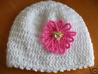 HANDCROCHETED HAT WITH CRYSTAL EFFECT HEART..TO FIT.Tiny..0/3..3/6...9/12 MONTHS