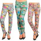 -S M L XL- Floral/Flowers Print,Stretchy,Skinny Pants Gray,Brown,Green
