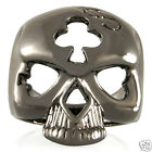 Awesome Poker Face Skull Big Money Ring Fashion Jewelry Shiny Graphite rg383gh