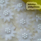 White Organza Flower With Cluster Beads Sewing Scrapbooking Appliques Trim New