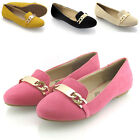 NEW WOMENS FLAT LOAFERS LADIES PUMPS SLIP ON GOLD CHAIN MULE SLIPPER SHOES SIZE
