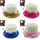 Fashion Ladies Girl's Straw Summer Brim With Bow Sun Hat Cap 4 Colors Available