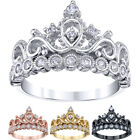 Guliette Verona 925 Sterling Silver Crown Princess Ring (4 Colors) Sizes 4-12