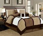 7 Pcs Brown, Beige, Black Micro Suede Patchwork Comforter Bedding Set Washable image
