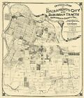 Old City Map - Sacramento California Landowner - Anderson 1908 - 23 x 26.81