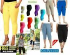 NEW 1826 jeans Womens Plus Size Twill Cotton Stretch CAPRI Pants Solid Colors