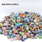 Wholesale Bulk Murano Glass Charm Spacer Beads For Bracelets 50/100Pcs Mixed