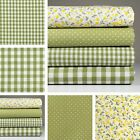 4 Fat Quarters or 1 Yard 100% Cotton Fabric Green Check Dot Floral Sewing M-001