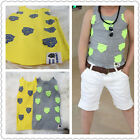 1596 Boutique Trendy Neon Leopard Head Print Rib Cotton Sleeveless Top Stretchy
