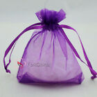 Violet Organza Wedding Favour Gift Bags Jewellery Pouches 5x7.7x9,9x12,13x17cm
