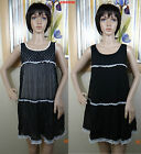 NWOT Genuine MISS U.S.A sleeveless black embroidered layer dress,size junior S,L