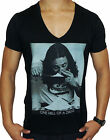 NEW MENS DEEP V NECK T SHIRT HELL DRUGS SLIM FIT S - XXL FASHION CASUAL MUSCLE