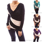 Trendy Diagonal Stripe Cowl Neck Long Sleeve Blouse Top