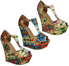 NEW WOMENS LADIES FLORAL STRAPPY PLATFORM PEEPTOE BUCKLE WEDGES HEELS SHOES 3-8