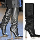 $2,295 YVES SAINT LAURENT BOOTS MIRROR HEEL STRETCH BLACK LEATHER RUNWAY 39 US 9