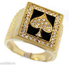 Mens Ace Of Spades Poker 18kt Gold Plated Ring New