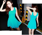 045 Women's Girl's Modal Candy Color Summer Sundress Blouse Tops Dresses