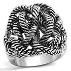 Ladies Rope Tangle No Stone Silver Rhodium EP Ring