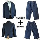 New 0M - 5T Boy Infant Toddler Formal Blazer Jacket + Multi Pocket Jean 2pc Set