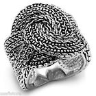 Ladies 20MM Wide Crossing Silver Rhodium Plated No Stone Ring
