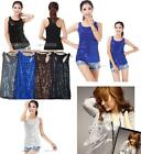 075 Tops Women  Slim sexy fashion crystal sequins lady small vest Vest blouse