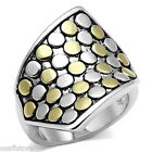 25MM Wide Two Tone Gold & Silver Rhodium EP Ladies No Stone Ring