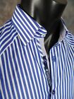 Mens Shirt STONE ROSE Black Rivet Collection ROM 3120 in BLUE Button-up Woven