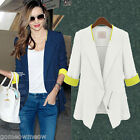 Womens Ladies OL Office Half 3/4 Sleeve Slim Coat Jacket Blazers Outwear Suits