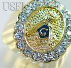 Eighteen CZ Masonic Mason Blue Center 18kt Gold EP Mens Ring New