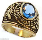 US Air Force Light Sapphire Blue Stone Military Gold EP Mens Ring