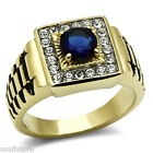 Round Shape Montana Blue Stone Gold EP Stainless Steel Ring