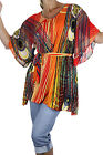 NEW (4021-4) Ladies Wide Sleeve Tunic Top Fire Red Orange One SIze Fits 10-18