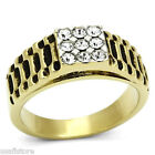 Mens Nine Bling Crystal Pave 18kt GP Two Tone Stainless Steel Ring