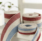 1 meter Woven Stripe Blue & Red Cotton Linen Trim Edging - size:10mm/15mm/20mm
